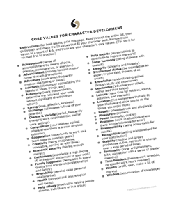 The Character Comma - Character Core Values worksheet thumbnail